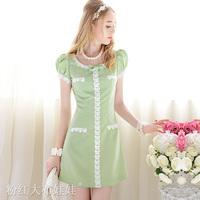 Green white paillette laciness slim gentlewomen bubble short-sleeve one-piece for women dress sizeXL