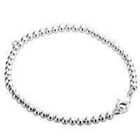 H198 wholesale silver 4mm beaded bracelet fashion jewelry bracelets chain 925 silver jewellery free shipping