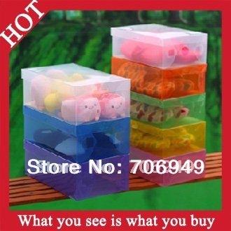 6pcs New 2014 Styling Tools Women Folding Shoe Box Plastic Boxes Multifunction Storage Box -- STG11