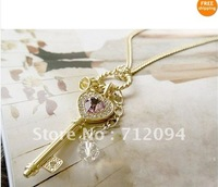 Hot! Luxury purple heart with Rhinestone circle Golden key pendant Sweater necklace
