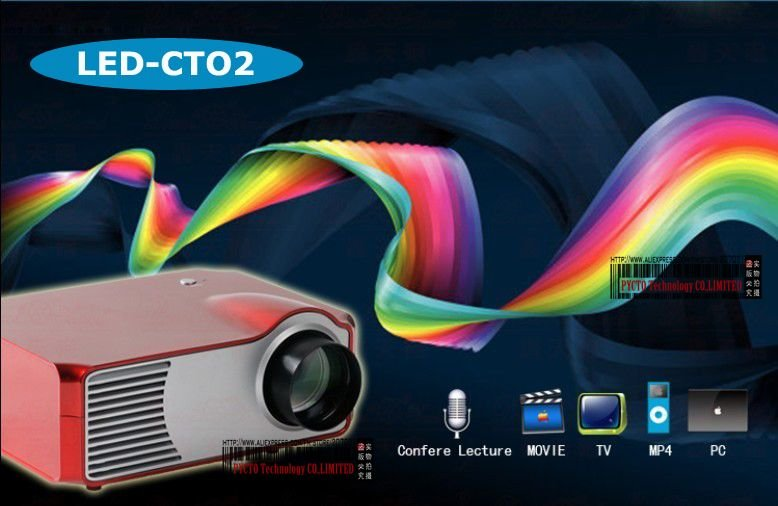 Form factory low prices ! CTO2 Lamps power 20,000hrs 1080i 800*600 LED MINI projector hd hdmi usb sd home theater system(China (Mainland))