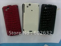 1pcs free shiping croco Leather Case Cover for Sony Ericsson XPERIA Arc S LT18i LT15i/X12