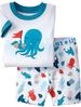 PS133, Octopus, 2012 Free Shipping, Wholesale Baby/Children 100% Cotton Rib short sleeve pajamas/sleepwear sets for 2-7 year.