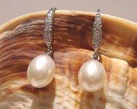 Freeshipping & Wholesale Pearl Earrings 925 Freshwater Pearl 8-9mm Fashion pearl Jewelry