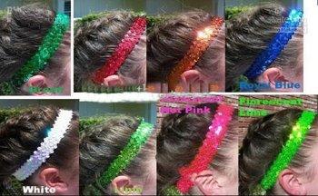 Wholesale - 20pcs New 1'' sequin headbands mix color baby headbands for girl stretch sequin headband #gtu