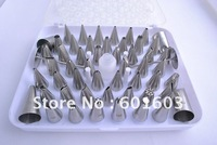 wholesale-1set 52pcs/set Pastry Tips Cake Sugarcraft Decorating Tool Icing Piping Nozzles Box Set free shipping