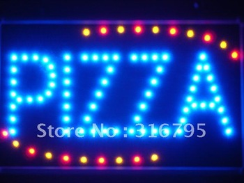 led008-b Pizza Shop OPEN LED Neon Business Light Sign