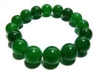 12mm Dark Green jade Beads Amulet Elastic Bracelet