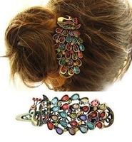 Colorful Vintage Crystal Peacock Hair Clip peacock