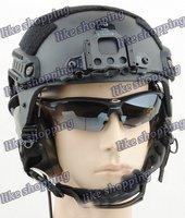 tactical Helmet with NVG Mount N Side Rail Black free ship
