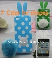 7 Color for choose Cartoon Wave point Rabbit design Case Cover For iPhone 4G 4S,Freeshipping 10pcs/lot Retail package