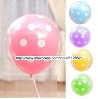 "Free shipping - 12"" two player polka dots printing balloons, wedding, birthday party balloon decorations"