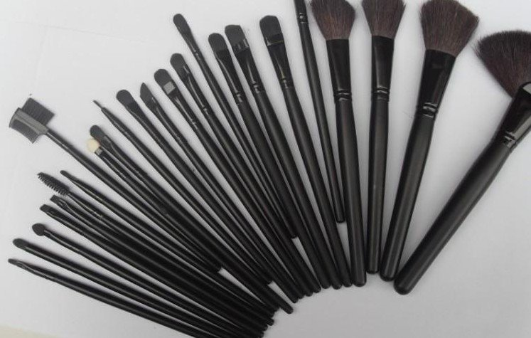 Man Woman Exquisite FOR 24pcs Studio Protable Make Up Cosmetic Brush Set Kit Leather Case(China (Mainland))