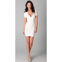Free Shipping 2012 New Women's Bandage Dress H243 White Short Sleeve cutout Evening Dress Hot Selling