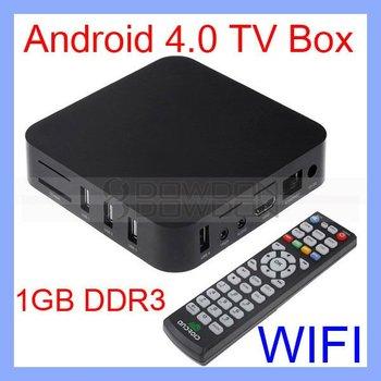 4GB Android Box ARM Cortex A9 1G Hz - Amlogic M3 Android 4.0 Box Google TV Box WiFi 1080P HDMI full HD Media Player