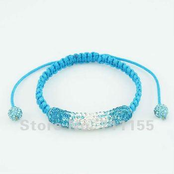 Aquamarine String,Micro Pave CZ Crystal Long Tube Bending Clay Shamballa Bracelet,100% AAAA Qulity