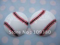 20pcs/lot, Flat back resin baseball