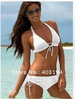 Free Shipping Sexy VS Push Up Halter Triangle Bikini Set Lingerie Swimwear Swimsuit Bathing Suit White S M L