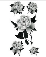 Shiping Free Retail&Wholesale Gray Five Big Rose Tattoo Stickers Temporary Tattoos Fake Tattoos