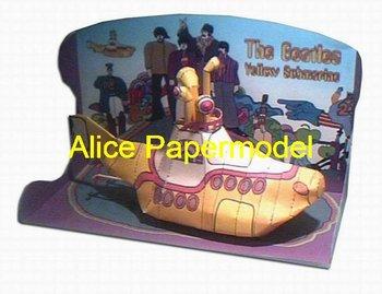 [Alice papermodel] Long 25 CM yellow submarine warship battleship models