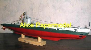 [Alice papermodel] Long 76CM 1:72 WWII submarine U-boot battleship military models