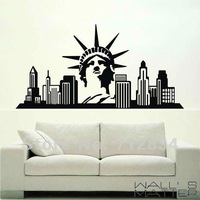 [B.Z.D] Free Shipping Statue of Liberty & New York Giant Art Decals Removable Home Decor Vinyl Wall Stickers 115 x 60cm