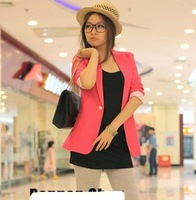 Women One Button Suit Blazer Turn Back Cuff Jacket Candy Color M L