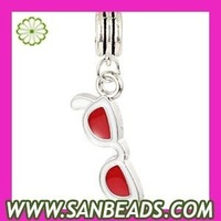 Free Shipping! 10 pcs/lot  9*26.6mm Platinum Plated Alloy Enamel Red Sunglass Charms Wholesale,FA0096-1
