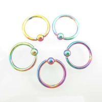 100pcs Colorful Circular Barbell Round Nose Ring Lip Ring 316L Surgical Stainless Steel Body Piercing  Free Shipping