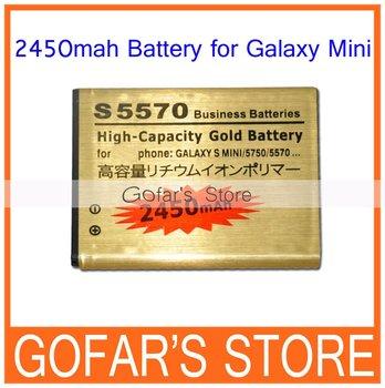 2450mah High Capacity Business Battery for Samsung Galaxy Mini S5570,50pcs/Lot,High Quality,Free Shipping