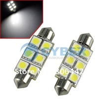 1 Pair White Bright SMD 5050 6-LED Car Auto Light Bulbs LED Festoon Light Bulbs 42mm 12V Free Shipping