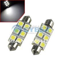 1 Pair White Bright SMD 5050 6-LED Car Auto Light Bulbs LED Festoon Light Bulbs 42mm 12V Free Shipping