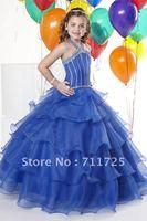 Sweet Halter Beaded Bodice Children Ball Gown Ruffles Tiered Flouncing Royal Blue Taffeta Organza No Train Flower Girl Dresses