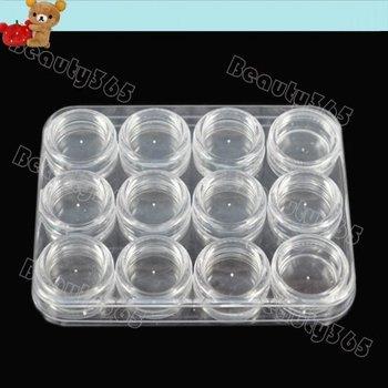 New 120pot/Lot with Box Grid Nail Case Storage Art Clear Glitter Dust Powder Empty Jar Bottle 5ml Wholesale 4360