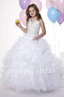 Elegant Halter V-Neck Beaded Bodice Girl Ball Gown Ruffle Tiered Flouncing Fluffy White Satin Organza Zipper Flower Girl Dresses