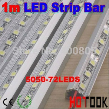 Wholesale 1M 5050 LED BAR Rigid Strip Light article lamp + Aluminium Alloy Shell Housing CE RoHS x 10 meter - ship via express(China (Mainland))