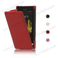 Carbon Fiber Leather Case for Sony Xperia U ST25a / ST25i Kumquat Free Shipping MLC-ST25i-02