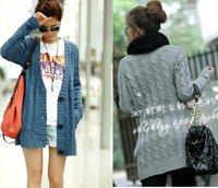 Free shipping korean fashion lady's striped V nek winter sweater coat, casual women's single breasted cardigan sweater