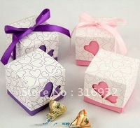M1 Free shipping, hollow out heart  wedding favor box  , 50 pcs /lot