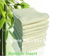 hot sale Free shipping 100pcs/lot  four layer natural bamboo inserts for cloth diaper softer touch higher absorbency