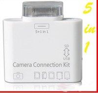500 pcs USB camera connection kit 5 in 1 card reader for ipad/ ipad 2/the NEW ipad DHL free shipping