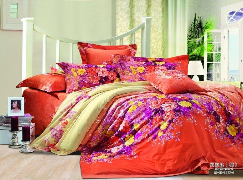 Wholesale cotton queen bed linen purple flower pattern - Orange and purple bedding ...