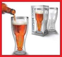 Free Shipping Hopside Down Glass Beer Glass Beer Mug 420ml 2pcs/lot