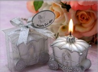 """Free shipping """"Happily Ever After"""" Carriage Candle craft candle wedding favor 24PCS/LOT"""