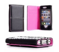 For iPhone 4 4s 3 3GS 100pcs Credit ID Card slot wallet Holder leather Flip Case Cover Pocket fold Multi Pouch free shipping