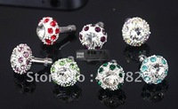 Promotion Crystal Diamond Dust Headphone plug Bird 's Nest Shape for Iphone5 5g 4 4s 2500pcs,Free shipping