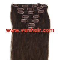 "15"",18,20"",22""24""26""28""7PCS Clip-in Remy Real Human Hair Extensions #02 - dark brown ,Straight 70g,80g100g,120g"