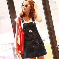 Free shipping! 2013 women's all-match casual denim overalls one-piece dress plus size pleated denim suspenders short skirt