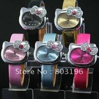 3PCS/Lot Free shipping  HOT Sale Fashion Cartoon Watch Hello Kitty Watches woman children kids watch mix color T0924
