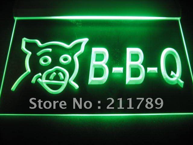 B0299-G BBQ Pig Display Cafe Restaurant Neon Light Sign